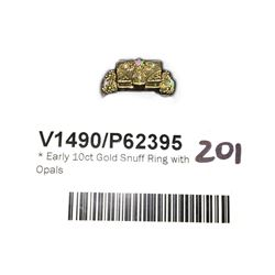 * Early 10ct Gold Snuff Ring with Opals