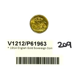 * 1914 English Gold Sovereign Coin
