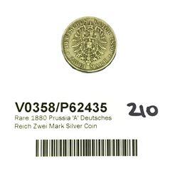 * Rare 1880 Prussia 'A' Deutsches Reich Zwei Mark Silver Coin