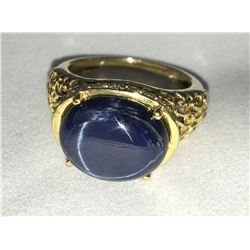 * 10ct Gold on Sterling Silver 13ct Star Sapphire Ring