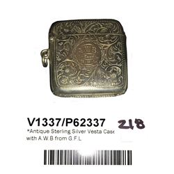 * Antique Sterling Silver Vesta Case with A.W.B from G.F.L