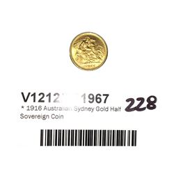 * 1916 Australian Sydney Gold Half Sovereign Coin