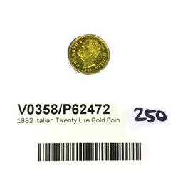 * 1882 Italian Twenty Lire Gold Coin