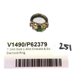 * 14ct Gold 1.40ct Emerald & Six Diamond Ring