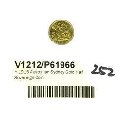 * 1915 Australian Sydney Gold Half Sovereign Coin