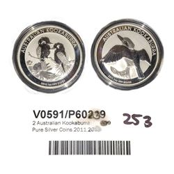 * 2x  Australian Kookaburra 1oz 999 Pure Silver Coins 2011,2013
