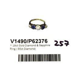 * 18ct Gold Diamond & Sapphire Ring (.55ct Diamond)