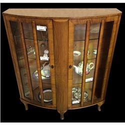 * Early Art Deco Style Walnut China Cabinet