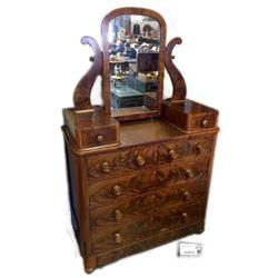 * Early Burr Walnut Veneer Dressing Table