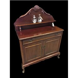 * Mid Century Mahogany Chiffonier with Carved Detail