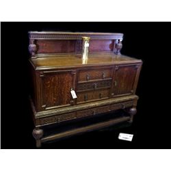 * C.1910 Solid Oak Sideboard with Carved Detailing