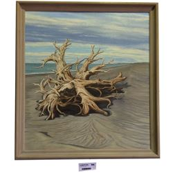 * Original Oil Painting Driftwood by NZ Artist Sheena Lassen
