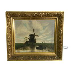 Lodewijk Johannes Kleijn (1817- 1897) Original Painting of Windmill