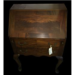 * Two Drawer Antique Burr Walnut Inlay Writing Desk