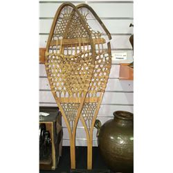 * Pair of Antique Snow Shoes with Animal Skin (Faults)