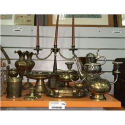 * Shelf Lot - Vintage Brass Inc. Antique Candelabra