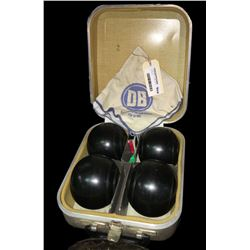 * Cased Set of Vintage Henslite Lawn Bowls