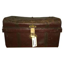 * Antique Brown Steel Travel Trunk