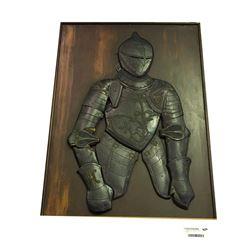 * Vintage Carved Medieval Knight on Wood
