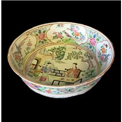 * Antique Large Chinese Bowl with Famille Rose Pattern