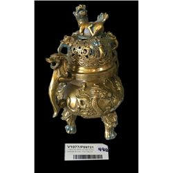 * Early Six Mark Chinese Brass Incense Burner - Foo Dog Top