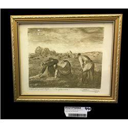 * Jean-Francois Millet (1814-1875) Engraving 'Les Glaneuses'