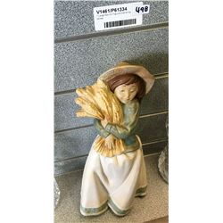 * Large Nao Girl Figurine Gathering Wheat