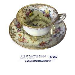 * c1825 Coalport Gilt & Floral Teacup & Saucer