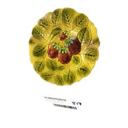 * Early Sarreguemines French Majolica Strawberry Plate
