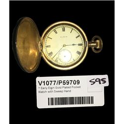 * Early Elgin Gold Plated Pocket Watch with Sweep Hand