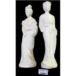 * Two Tall Porcelain Statues of Canton Man & Lady
