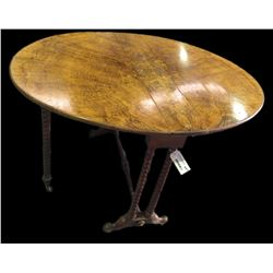 * Victorian Walnut Drop Leaf Occasional Table w. Gate Leg Base
