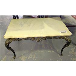 * Italian Marble Style Top Coffee Table With Ornate Brass Base