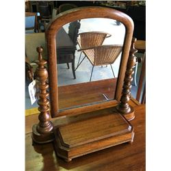 * Antique Oak Cheval Mirror with Barley Twist Uprights