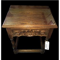 * Adze Hewn Carved Telephone Table with Turned Legs