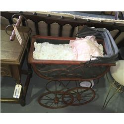* Antique Wrought Iron Frame Dolls Pram