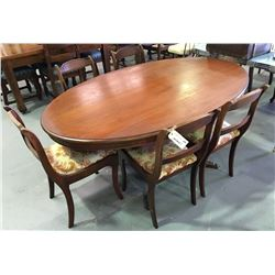 * Early Oval Six Piece Dining Suite with Brass Feet