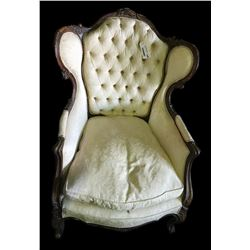 * White Victorian Grandfather Chair w. Mahogany Cabriole Legs