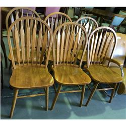 * Set of Six Oak Retro Slatback Dining Chairs