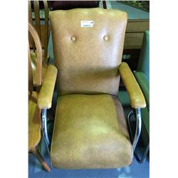 * Art Deco Chrome & Light Brown Vinyl TV Chair