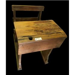 * Antique Colonial Timber School Desk with Chair