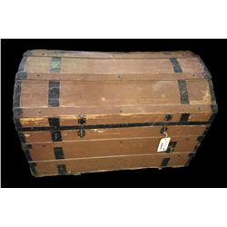 * Antique German Wood Banded Travel Trunk