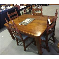 * Antique Solid Oak Dining Table & Four Chairs