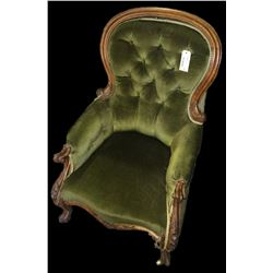 * Green Victorian Grandfather Chair w. Mahogany Cabriole Legs