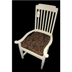 * Antique White Painted Wooden Chair with Red Upholstery