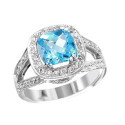 NEW 14KT White Gold Blue Topaz and Diamond Split Ring - #2009