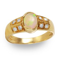 14KT Yellow Gold Opal and Diamond Ring - #253
