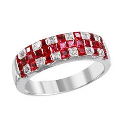 14KT White Gold Ruby and Diamond Ring - #2037