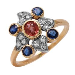 14KT Yellow Gold Sapphire and Diamond Ring - #50