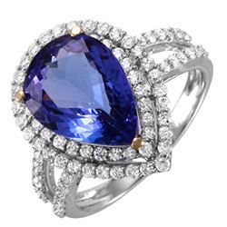 14KT White Gold Tanzanite and Diamond Ring - #1538